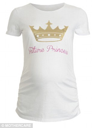 Baby boom: Pregnant women can celebrate their own 'future princess' with this maternity top from Mothercare, left, while those not expecting can also get in on the cat with their T-shirt celebrating the royal birth from zazzle.co.uk