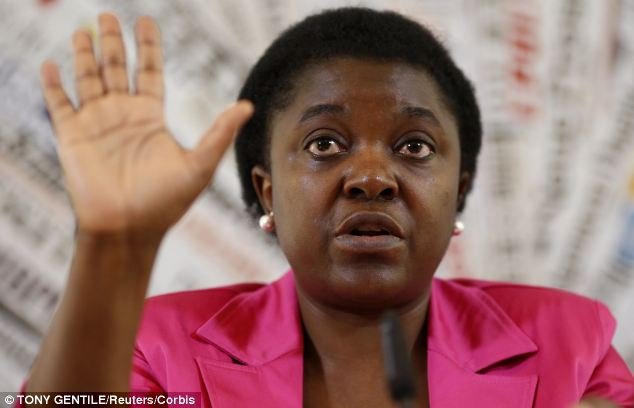 Recognisable: Some of the signs are easy to decipher. Here, the Italian Minister for Integration Cecile Kyenge is raising her hand to stop someone mid-speech