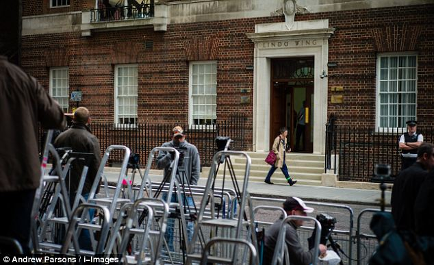 In London press photographers start to arrive at St Mary's Hospital in London