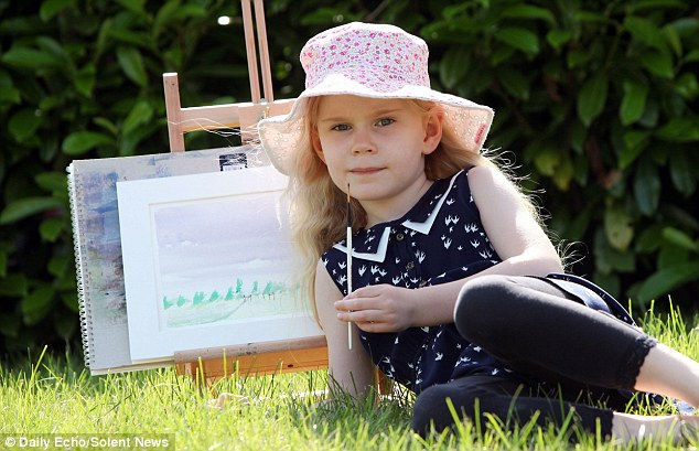 Heidi Hankins, 5, who has an IQ which almost matches that of world famous physicist Stephen Hawking has turned her talents to creating beatiful watercolour landscapes