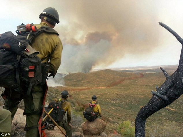 Last Photograph: In this photo shot by firefighter Andrew Ashcraft, members of the Granite Mountain Hotshots watch a growing wildfire that later swept over and killed the crew of 19 firefighters near Yarnell, Arizona