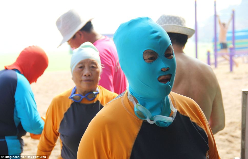 Double benefits: The masks also protect wearers from being stung by jellyfish