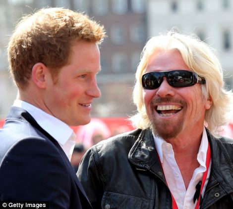 Powerful friends: Sir Richard Branson has known to have hosted Prince Harry and Tony Blair at Necker Island