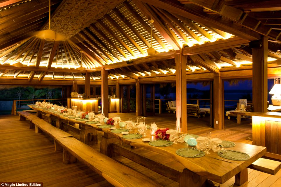 Al Fresco: Outside a table is laid big enough to seat all the guests on Necker at the same time