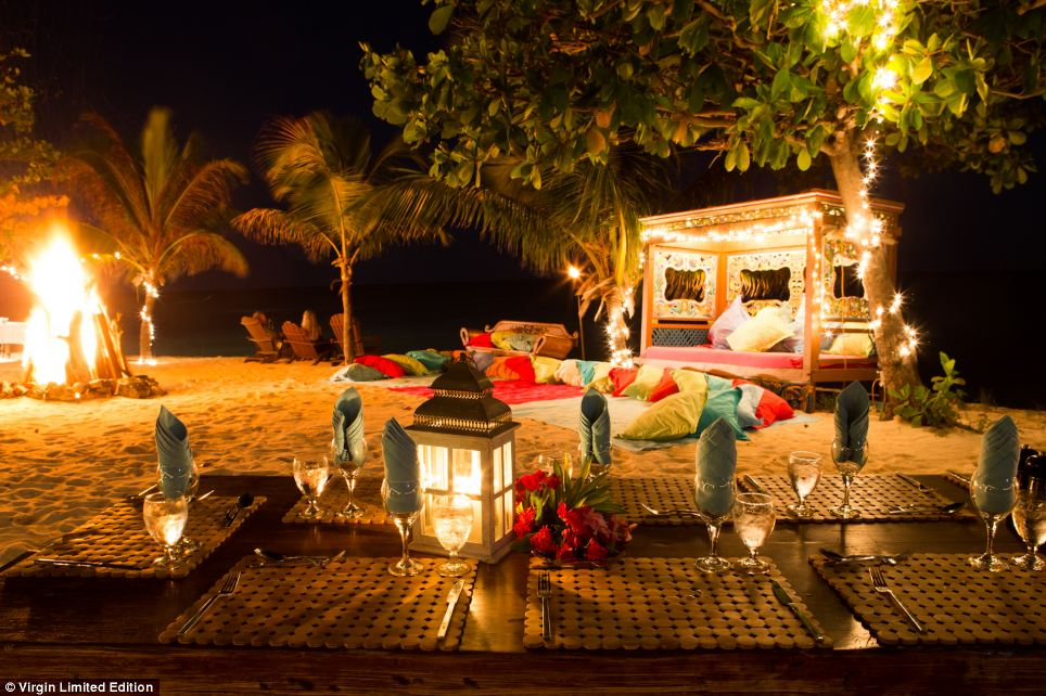 Fireside: Guests can lounge by the sea on the beach in hammocks, ornate sofas or eat and drink on the sand