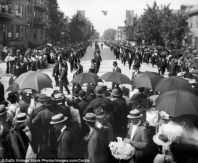 Mad hatters: In this July 4 parade in 1895 men marched through the streets wearing top hats