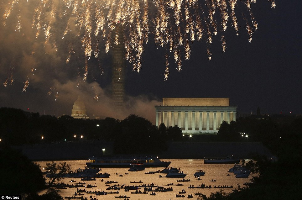 The iconic Washington skyline of the U.S. Capitol, Washington Monument and Lincoln Memorial serve as a backdrop for the U.S. national birthday celebration each year