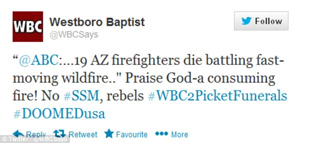Awful: Westboro Baptist Church praises the Arizona fire and vows to picket the deceased firefighters' funerals