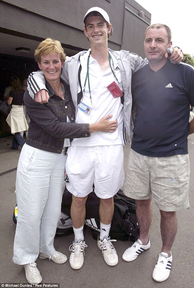 Close: Andy Murray with his parents Will and Judy who have supported him throughout his sporting career