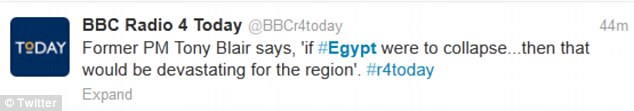 Concerned: Mr Blair gave his reaction to the growing crisis in Egypt on BBC Radio 4's Today programme