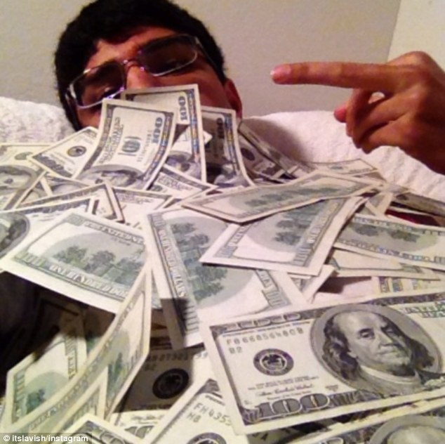 Flashing cash: Instagram user Lavish is supposedly an extremely rich and spoiled 17-year-old from San Francisco, California