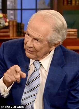 Forthright: Pat Robertson has made more homophobic comments on his television show - aimed at how to respond to pictures of same-sex couples on social media