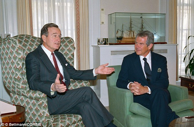 Washington: President-elect George Bush meets with evangelist Pat Robertson at the White House in 1988