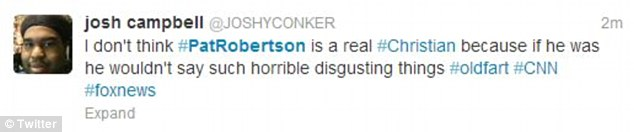 Twitter Outrage: This Twitter user expresses his disbelief at Pat Robertson's comments