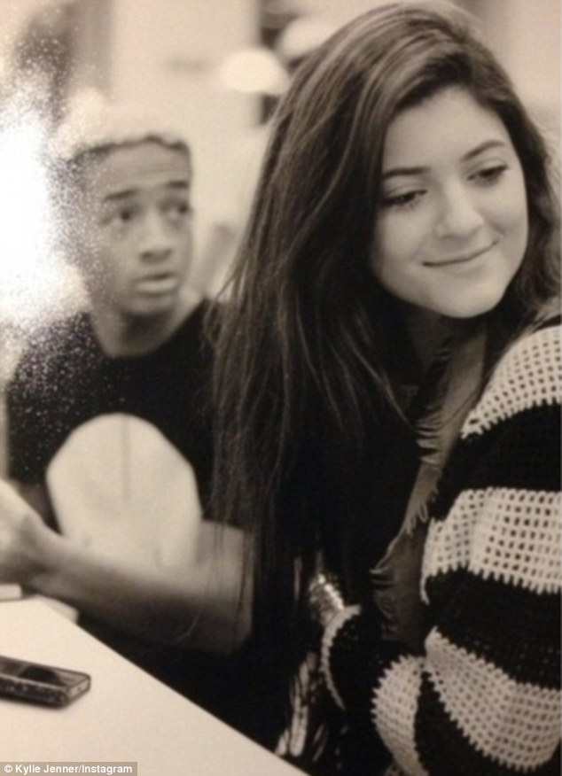 Touching image: Kylie Jenner posted a photo Monday of her smiling coyly while in the company of birthday boy Jaden Smith
