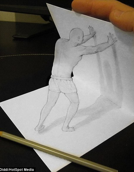 The drawings are a trick of the mind created by the designer, who said he wanted to create dimensions that weren't really there