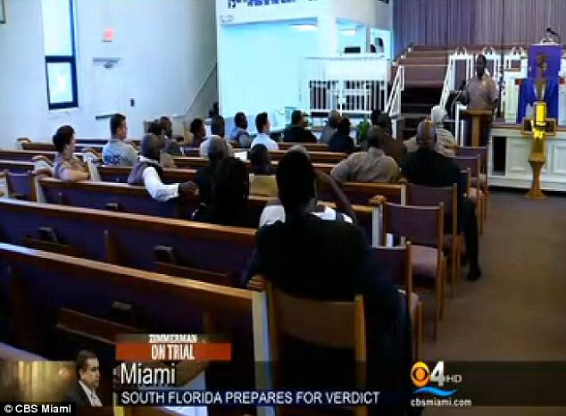 Working together: Representatives from the Miami Dade police department have met with pastors in the city asking them to help prevent any possible violent riots following the trial verdict