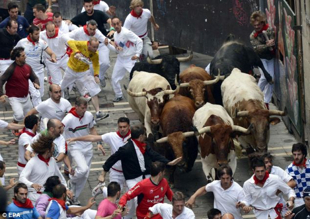 Draw: Pamplona's population of 200,000 swells to around two million during the festival, the largest in Spain