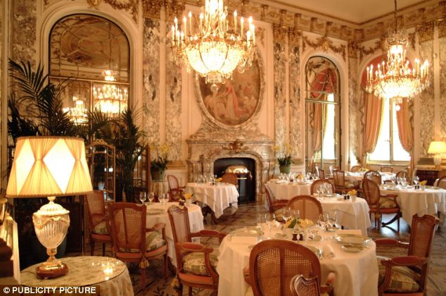 Lavish: In a gastronomic trip of a lifetime, one lucky couple will get to visit all 107 Michelin three-star restaurants around the globe, including Meurice in Paris, pictured
