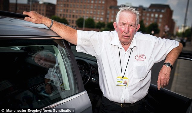Traumatised: Cabbie Ken Collins, 77, was left bleeding. lost two teeth and traumatised after he was punched in the face by drunk Matthew Rothwell after he refused to sing with him