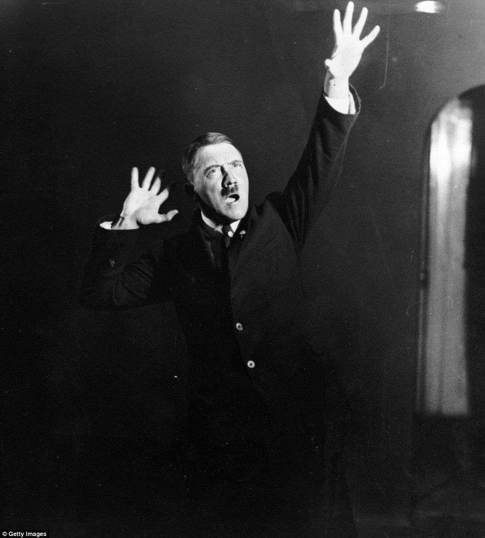 Hitler emphatically gesticulates while rehearsing a public speech. He would late become known for his strong oratory skills