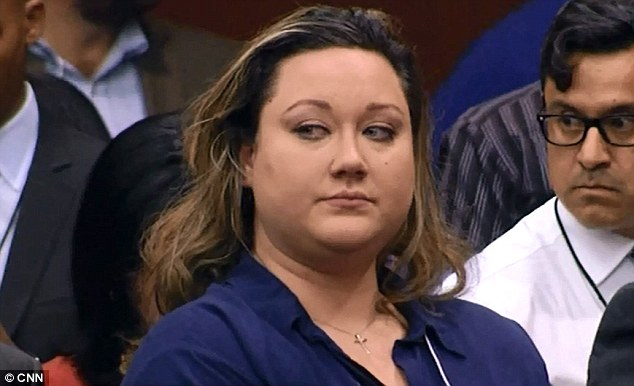 Relief: George Zimmerman's wife cries as the verdict was read out
