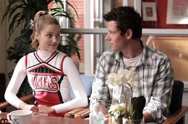 TV star: Cory in a scene from the first series of Glee with co-star Dianna Agron, who plays Quinn