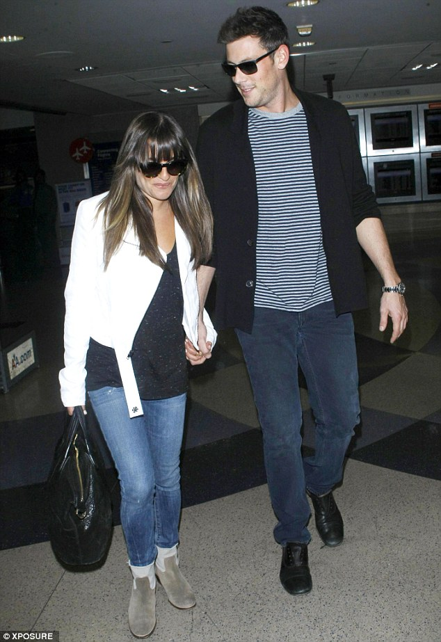 Loved up: Corey and Lea at Los Angeles's LAX airport on June 20 - the last tiem they were pictured together