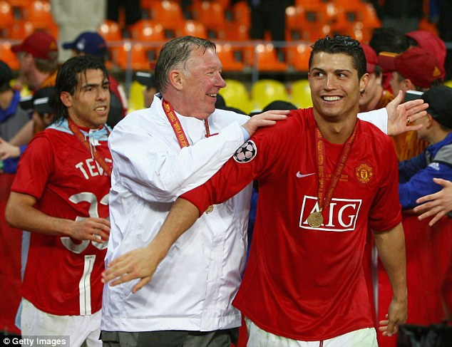 Old favourite: Ronaldo left Sir Alex Ferguson's team for a record £80million in 2009 for the Bernabeu