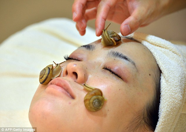 Slimy: Snails are applied to the face after cleansing during Japanese treatment, the Celebrity Escargot Course