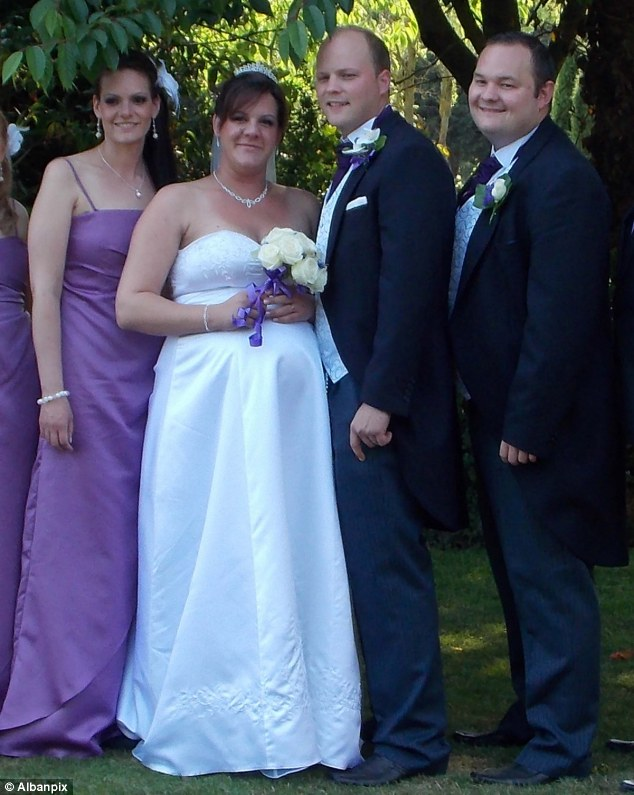 Day of joy: Ben and Karyssa pose for their wedding photo with maid-of-honour Krystal, left, and best man Danny Smethurst, right, before the reception turned sour