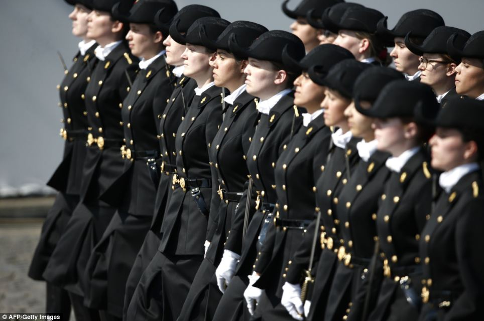 French students from the military school Polytechnique march