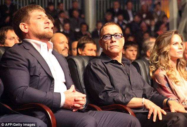 Common: Hilary Swank with notorious Chechen leader Ramzan Kadyrov (left). Swank came under fire for attending a 2011 event with the accused tyrant. Kadyrov was also at the June 29 Uzbekistan event where J.Lo performed