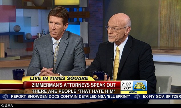Aftermath: Mark O'Mara and Don West spoke on GMA today about their client, George Zimmerman's fear for his life following his acquittal on Saturday