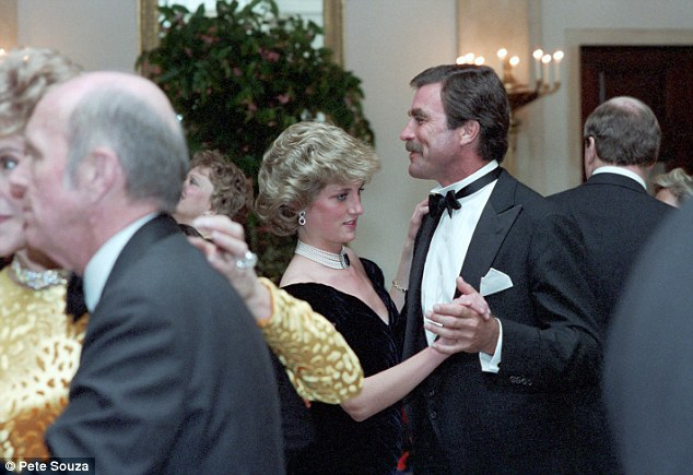 Uncomfortable: Princess Diana danced with Magnum, P.I actor Tom Selleck at the White House in Washington D.C. in September 1985. The 24-year-old looked awkward as she was photographed