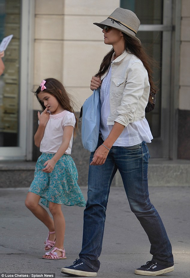 Cute shoes: Suri wore fashionable pink sandals for the outing