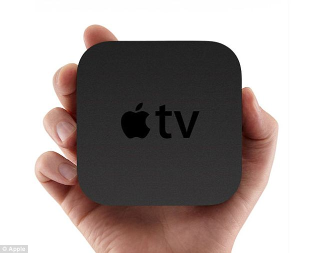 Apple's TV set could be connected to its TV box, pictured, to stream content from viewer's iTunes account.