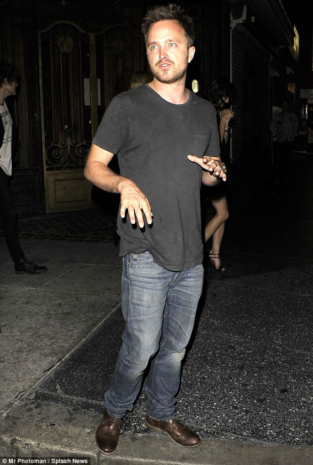 Aaron Paul Strikes A Silly Pose After A Night Of Partying