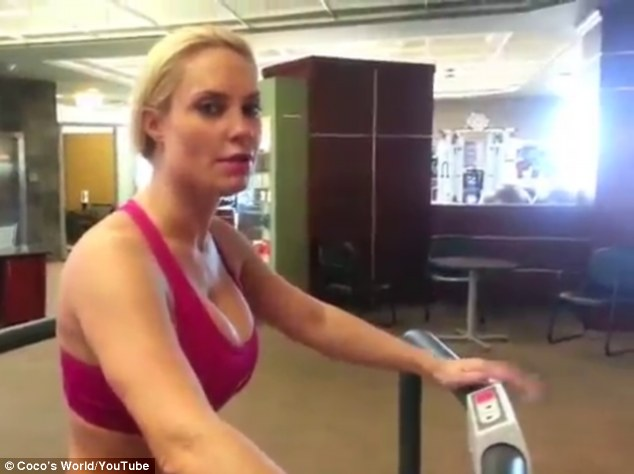 Toning up: Coco Austin, Ice T's voluptuous wife, works out her booty, legs and core at the gym