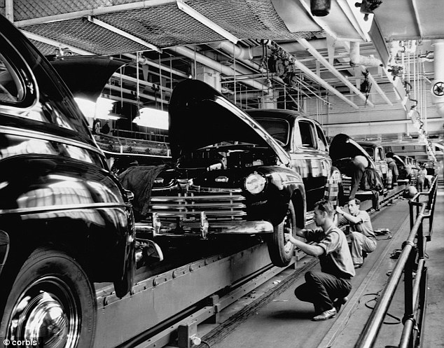 Heyday: The abundance of car plants helped Detroit earn its name of Motor City and brought in business and people