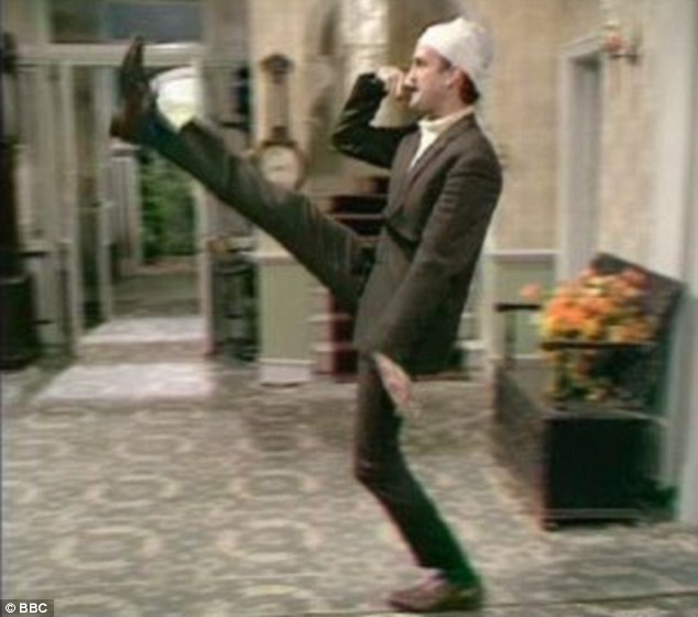 Expletives: West's racist rants at his German neighbour saw him likened to the television character Basil Fawlty, whose deranged goose-stepping in front of German guests is one of the most famous scenes in Fawlty Towers