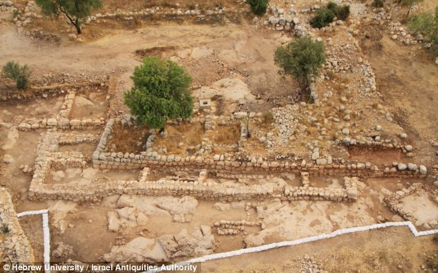 An aerial photo of the what archeologists believe to be King David's palace