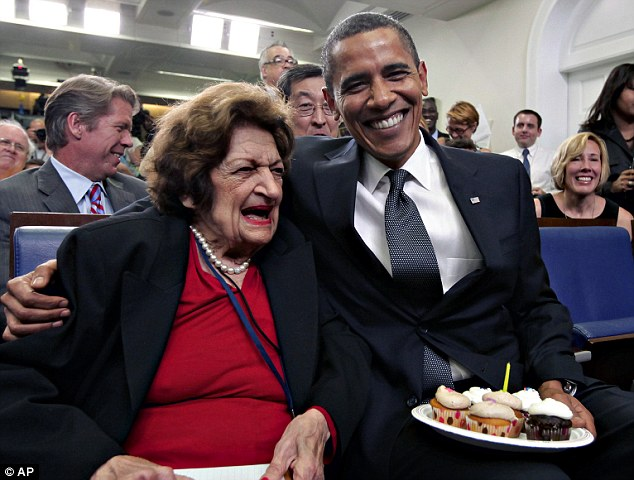 Birthday buddies: Thomas and President Obama share the same birthday, and are seen here celebrating together in 2009