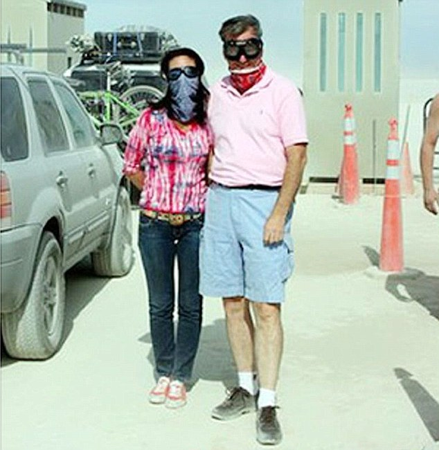 Google CEO Eric Schmidt with his then mistress Kate Bohner at Burning Man in the Nevada Desert in 2007. She is one of a string of extra-marital affairs