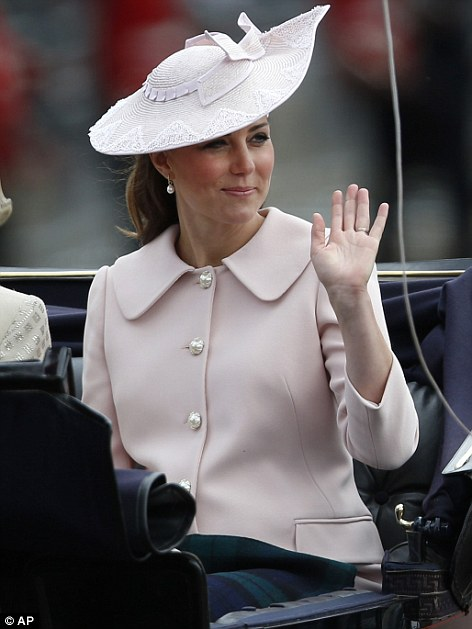 Final public appearance: The Duchess of Cambridge arrives at Buckingham Palace during a horse drawn parade last month as she is seen for the last time before she was due to give birth