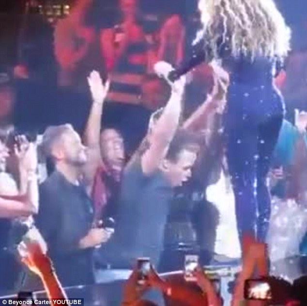 Gyrating: She decided to give the man a hug after he started shaking uncontrollably when she held his hand