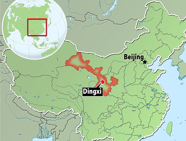 According to the local government, the shallow quake hit near the city of Dingxi, in central Gansu province, in red