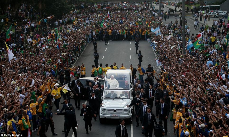 Masses: The pope's visit came at a tense time for Brazil, but there appeared to be no hostility towards Francis from anti-government protesters