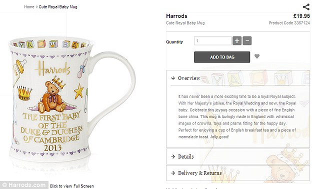 Money maker? Harrods launch a £20 royal mug to mark the birth of William and Kate's first child - before the name of the boy is even known