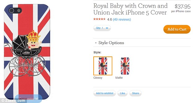 Refit your phone: A royal baby iPhone cover which has gone on sale on zazzle.com